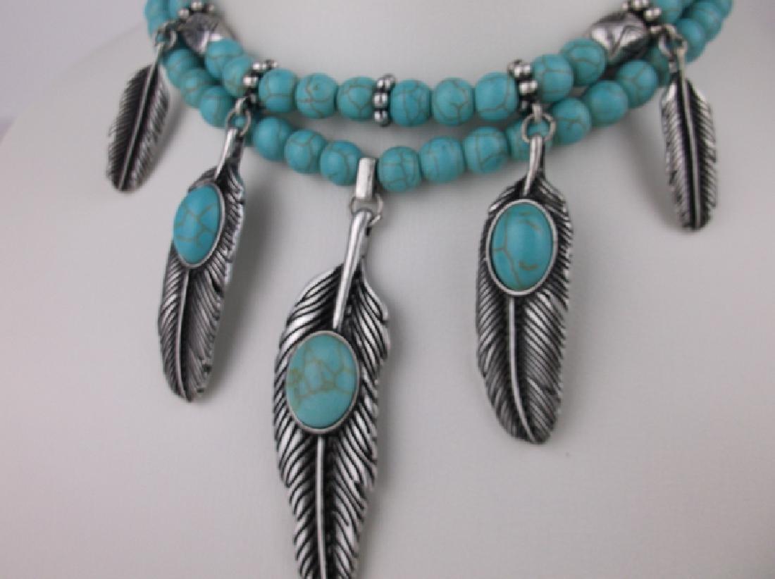 Stunning Huge Southwestern Feather Necklace - 2