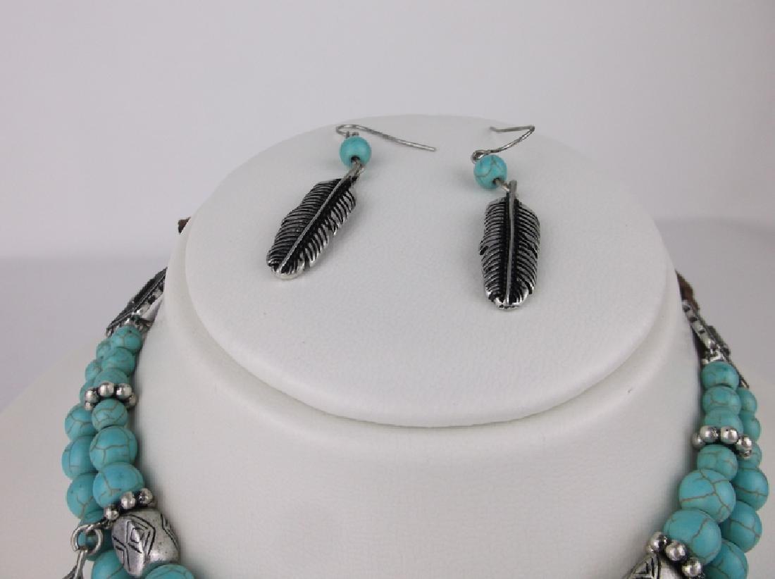 Stunning Huge Southwestern Feather Necklace - 3