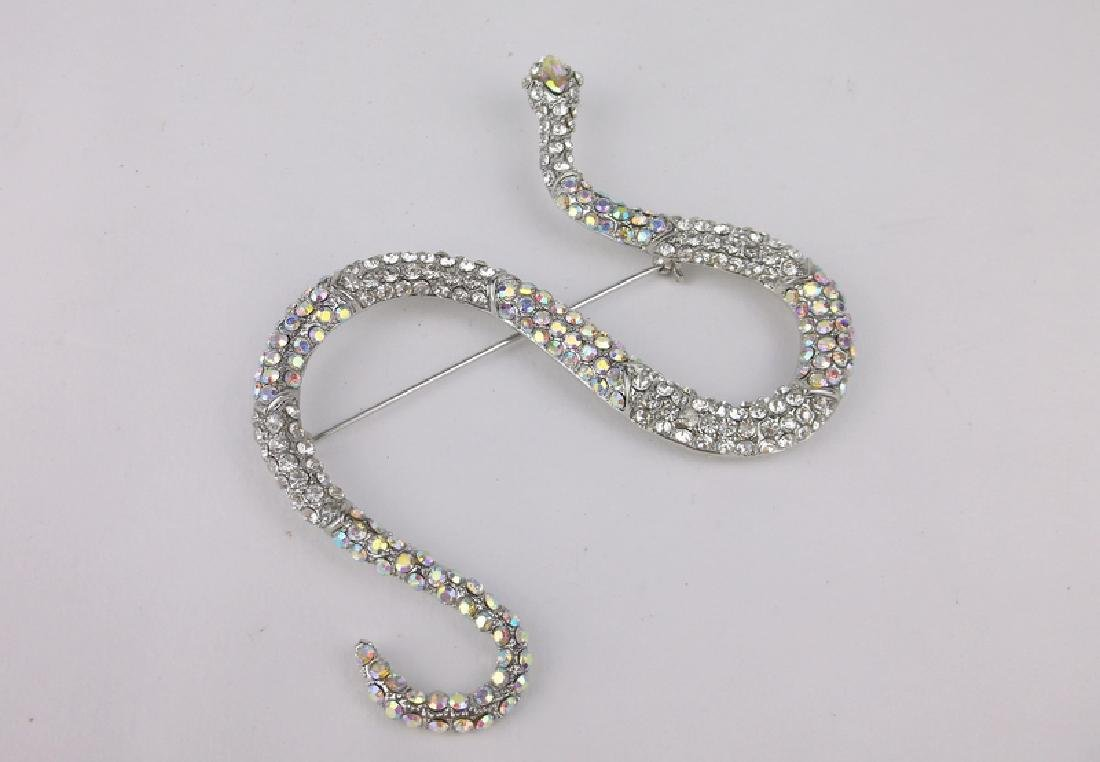 Incredible Huge Rhinestone Snake Brooch - 2