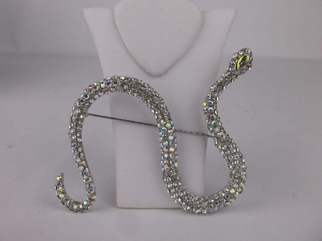 Incredible Huge Rhinestone Snake Brooch - 3