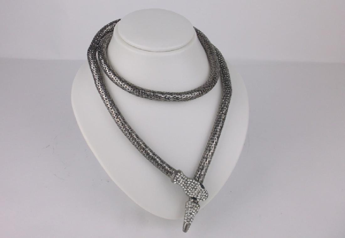 Stunning Huge Rhinestone Snake Wrap Necklace