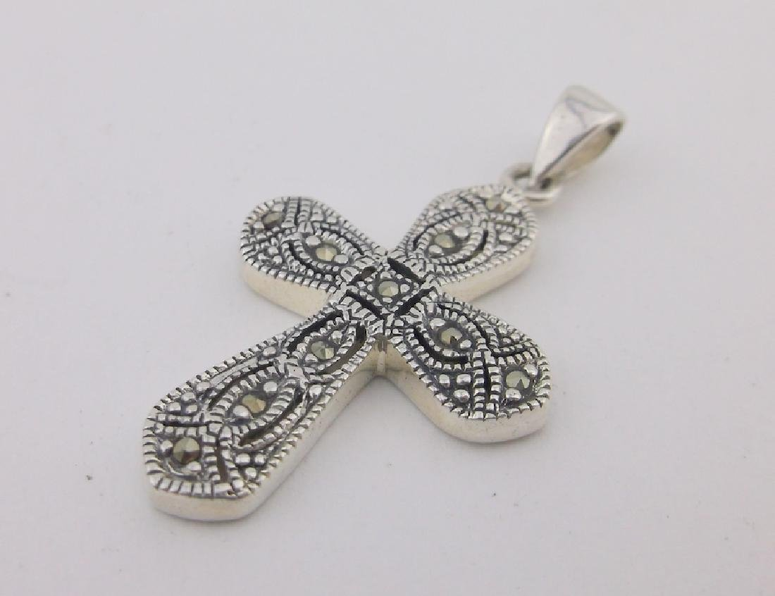 Stunning Sterling Silver Marcasite Cross Pendant