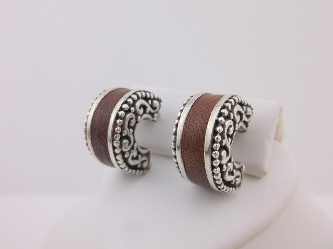 Gorgeous Heavy Sterling Leather Stud Earrings Thick