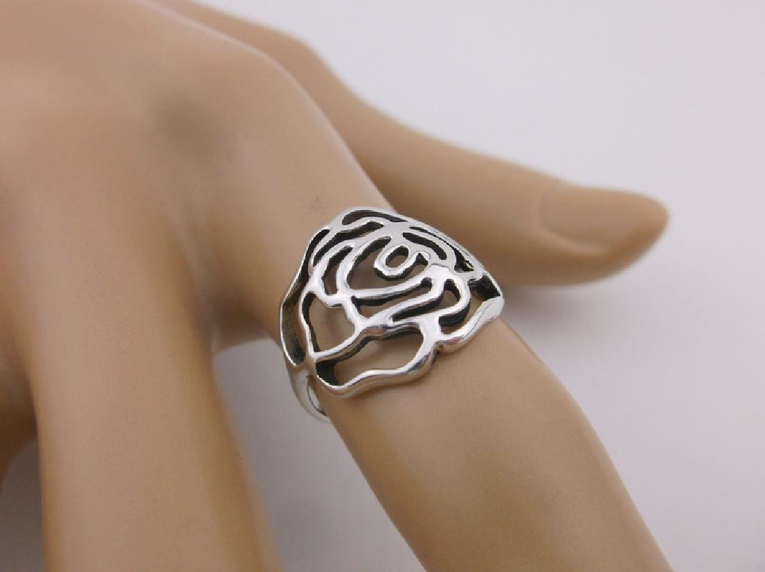 Stunning Sterling Silver Rose Ring 5