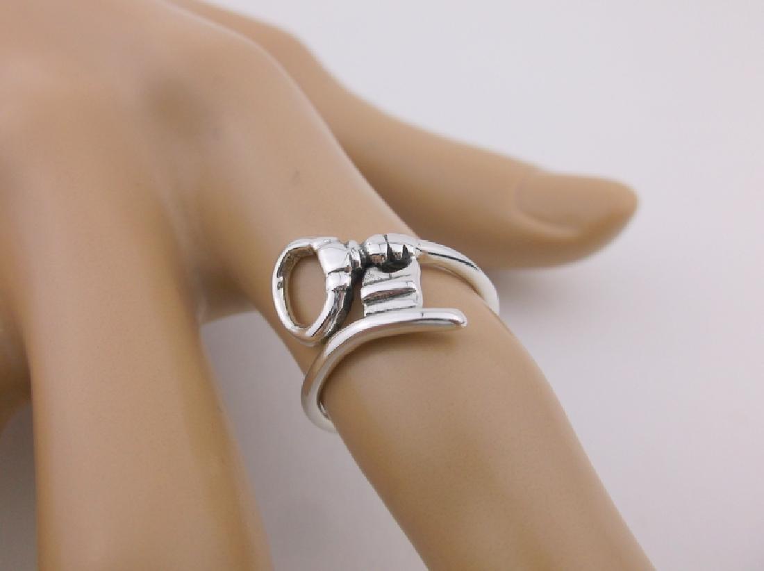 Stunning Sterling Silver Key Wrap Ring 5