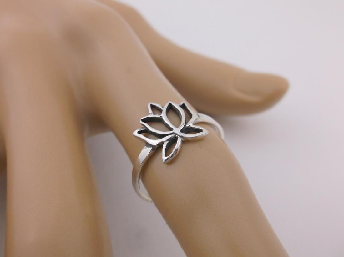 Stunning Sterling Silver Blooming Lotus Ring 7