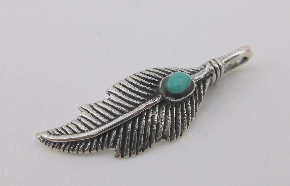 Stunning Sterling Silver Turquoise Feather Pendant