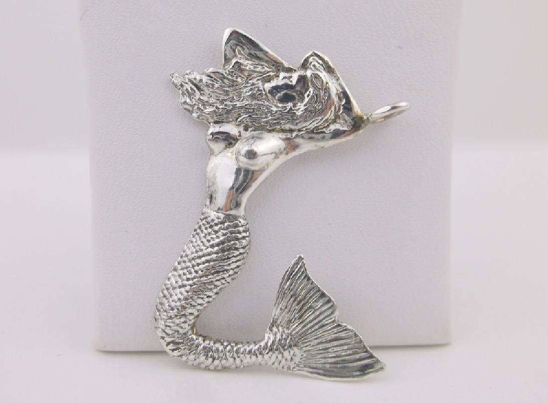 Stunning Large Sterling Silver Mermaid Pendant