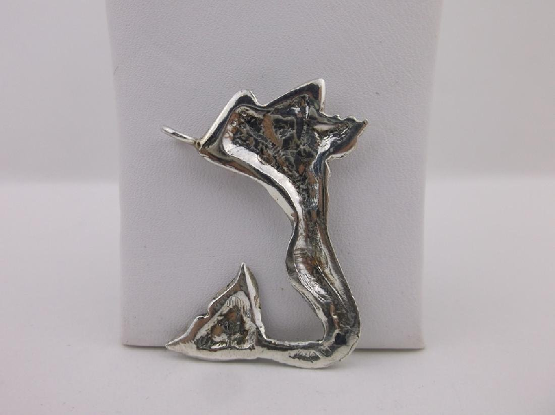 Stunning Large Sterling Silver Mermaid Pendant - 2