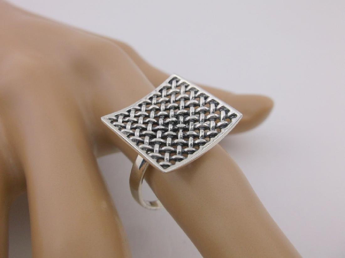 Stunning Sterling Silver Mesh Top Ring 10 Large