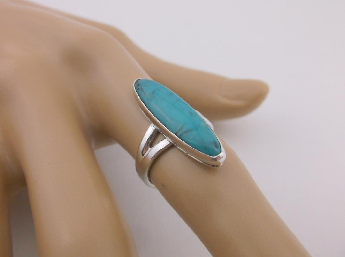 Stunning Navajo Sterling Silver Turquoise Ring 5