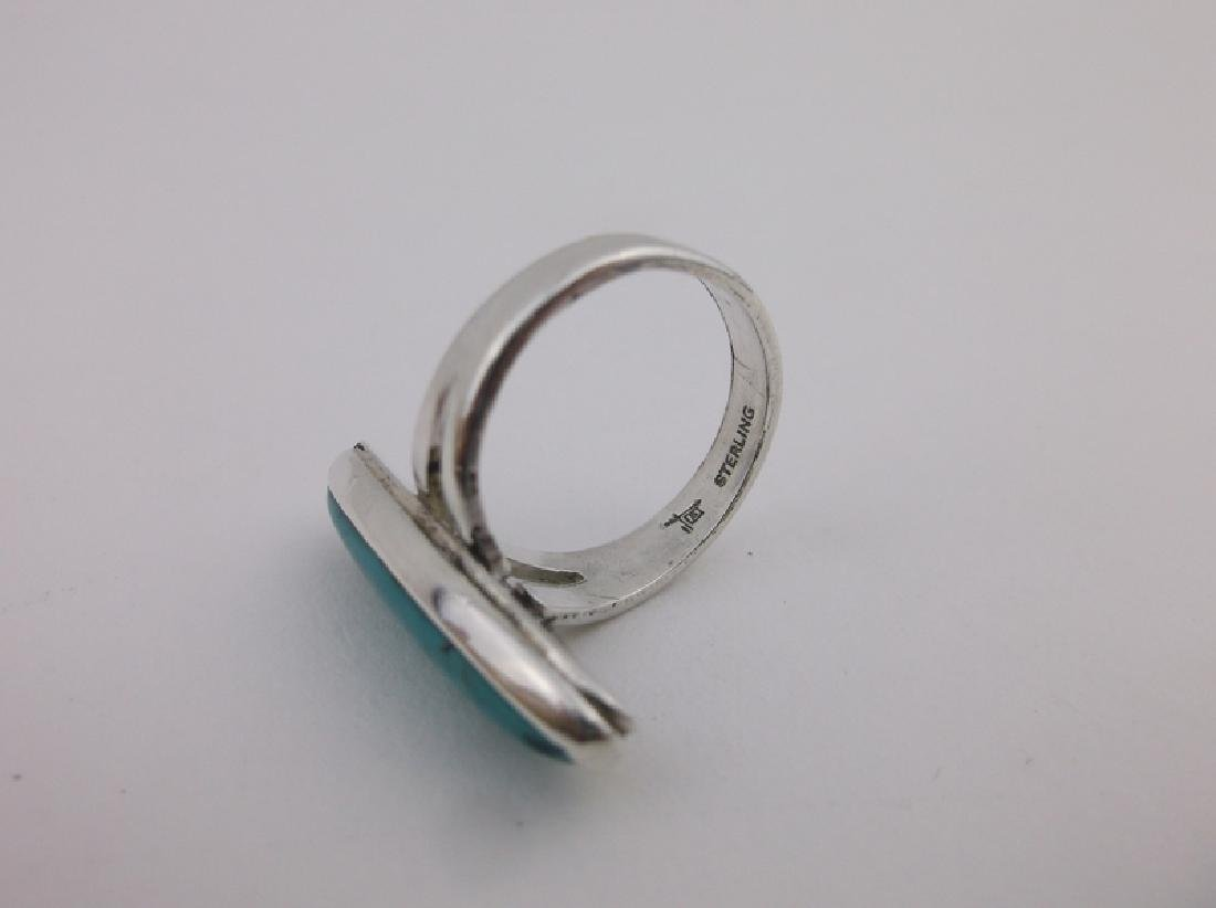 Stunning Navajo Sterling Silver Turquoise Ring 5 - 2