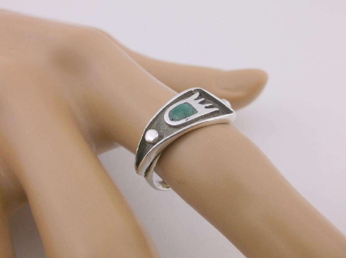 Gorgeous Navajo Sterling Turquoise Paw Ring 6.5