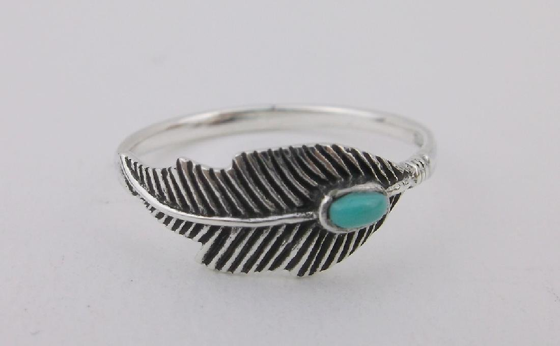 Stunning Sterling Silver Turquoise Feather Ring 7