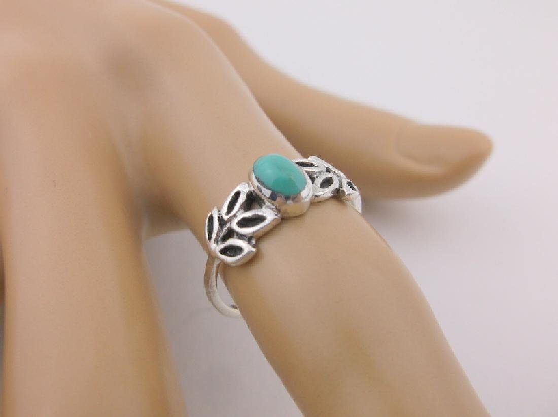 Stunning Sterling Silver Turquoise Leaf Ring 7