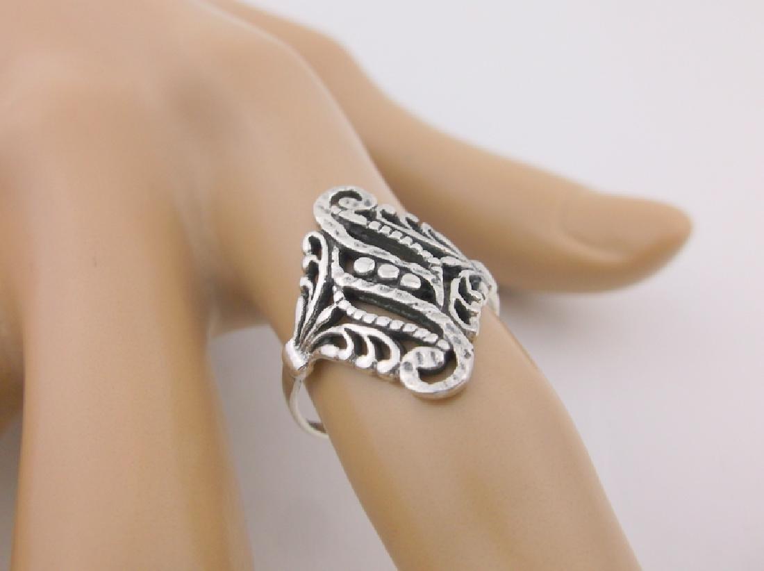 Stunning Sterling Silver Ornate Filigree Ring 7