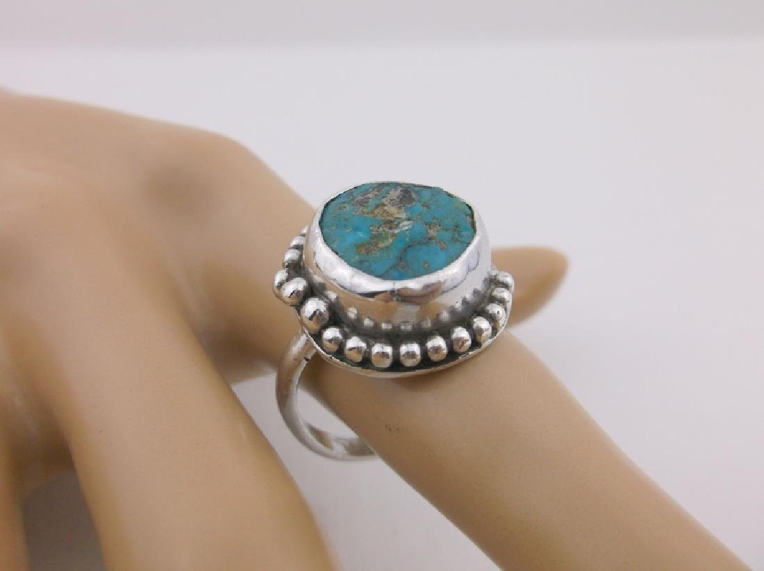 Vint Navajo Sterling Silver Turquoise Ring 10 E