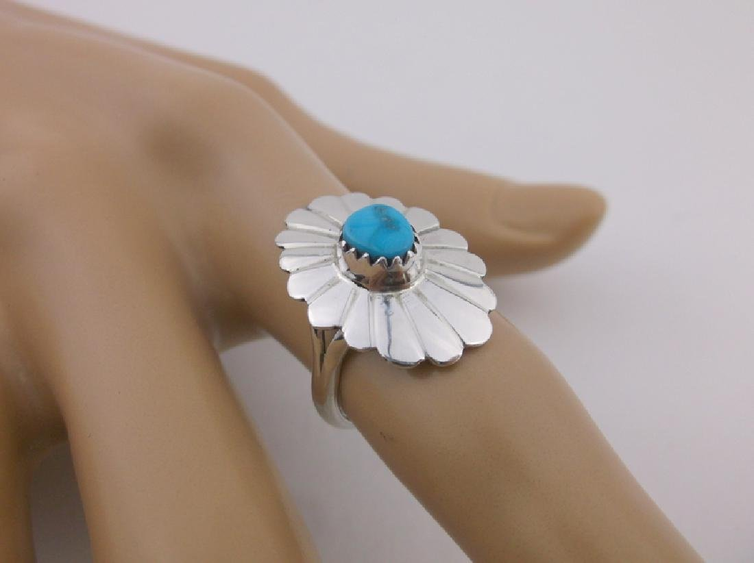Stunning Navajo Sterling Silver Turquoise Ring 6