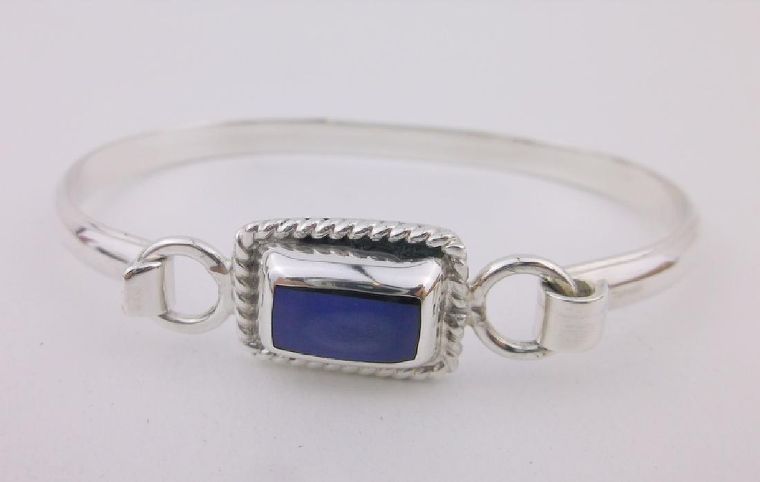 Stunning Heavy Sterling Silver Lapis Bracelet