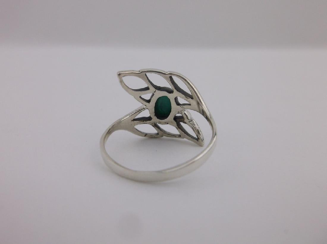 Stunning Sterling Silver Turquoise Leaf Ring 7 - 2