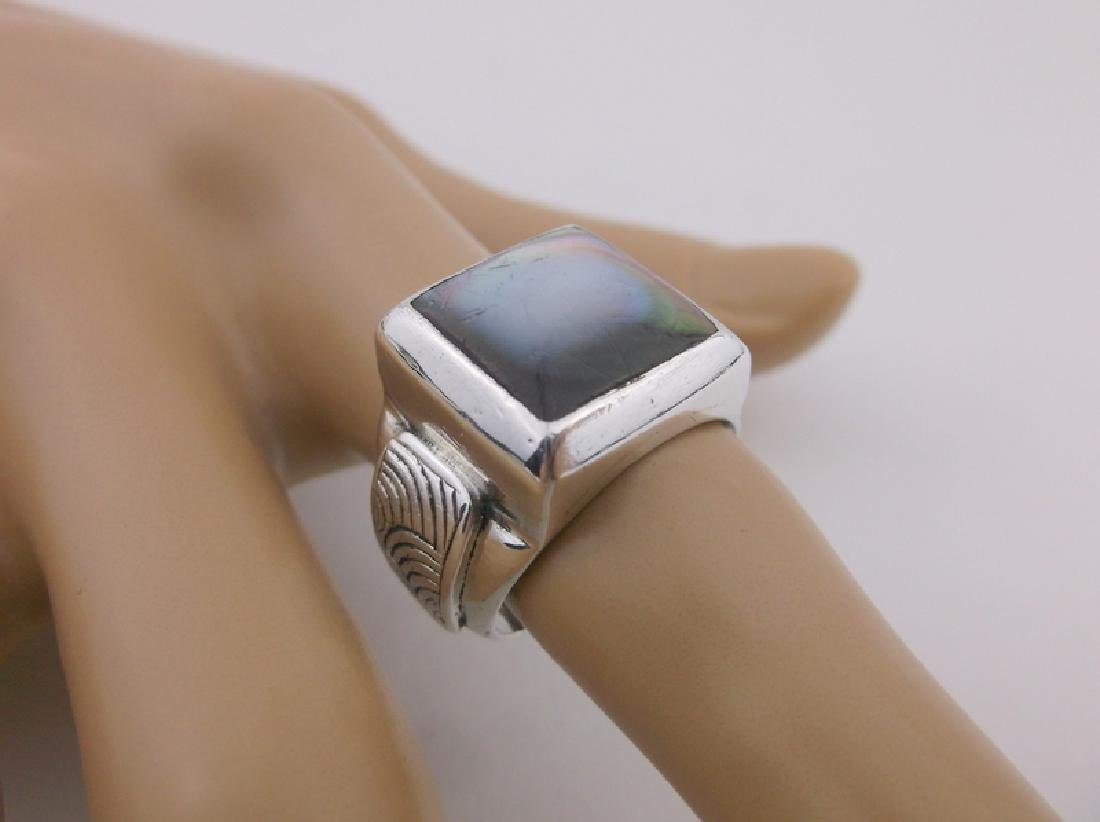 Gorgeous Sterling Silver Abalone Ring 7 Heavy