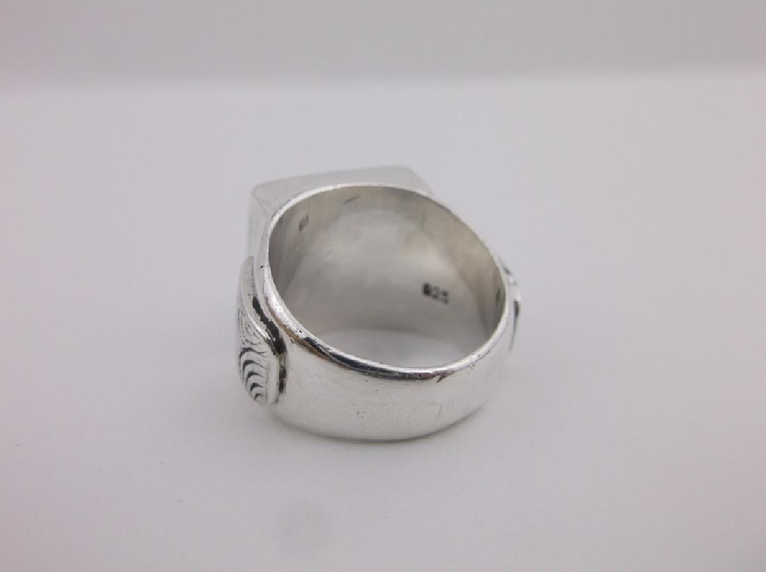 Gorgeous Sterling Silver Abalone Ring 7 Heavy - 2