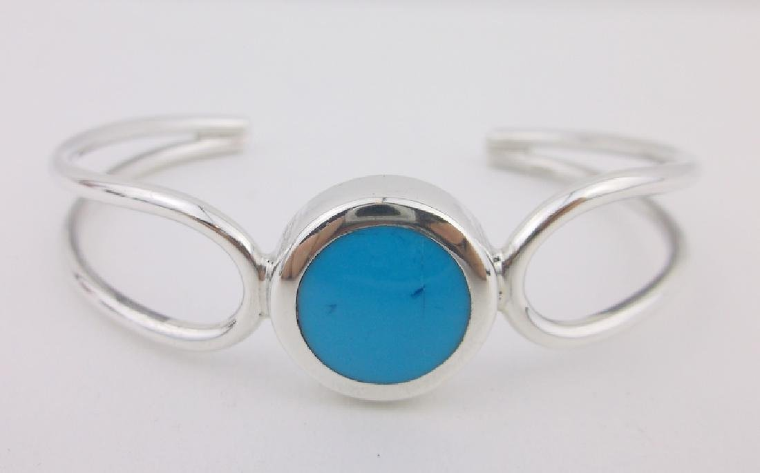 Stunn Thick Sterling Silver Turquoise Cuff Bracelet