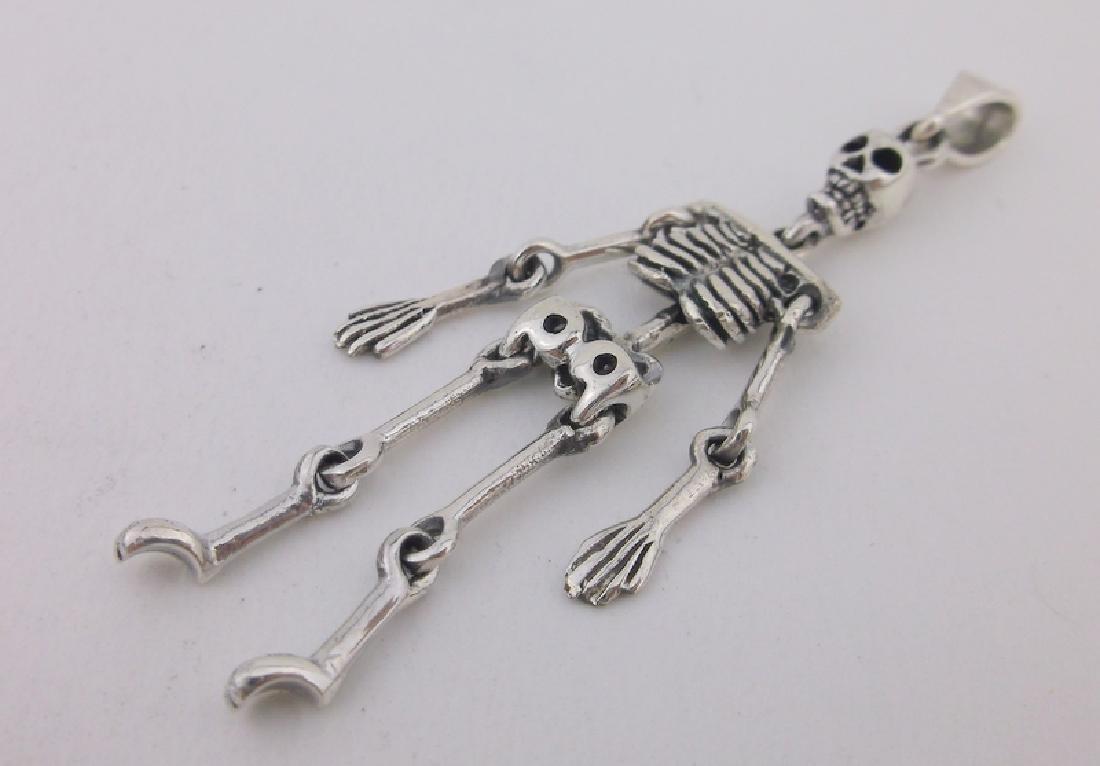 Stunning Sterling Silver Skeleton Pendant large
