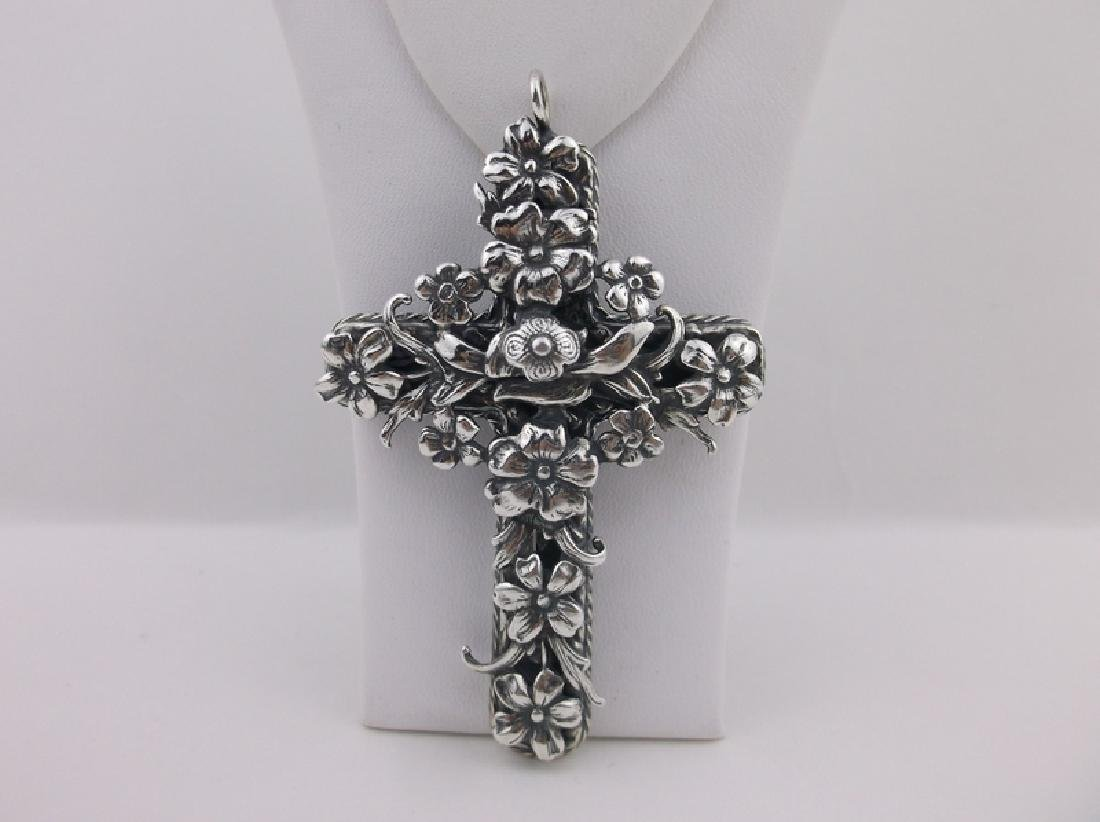 Incredible T Foree Huge Sterling Cross Pendant Antique - 2