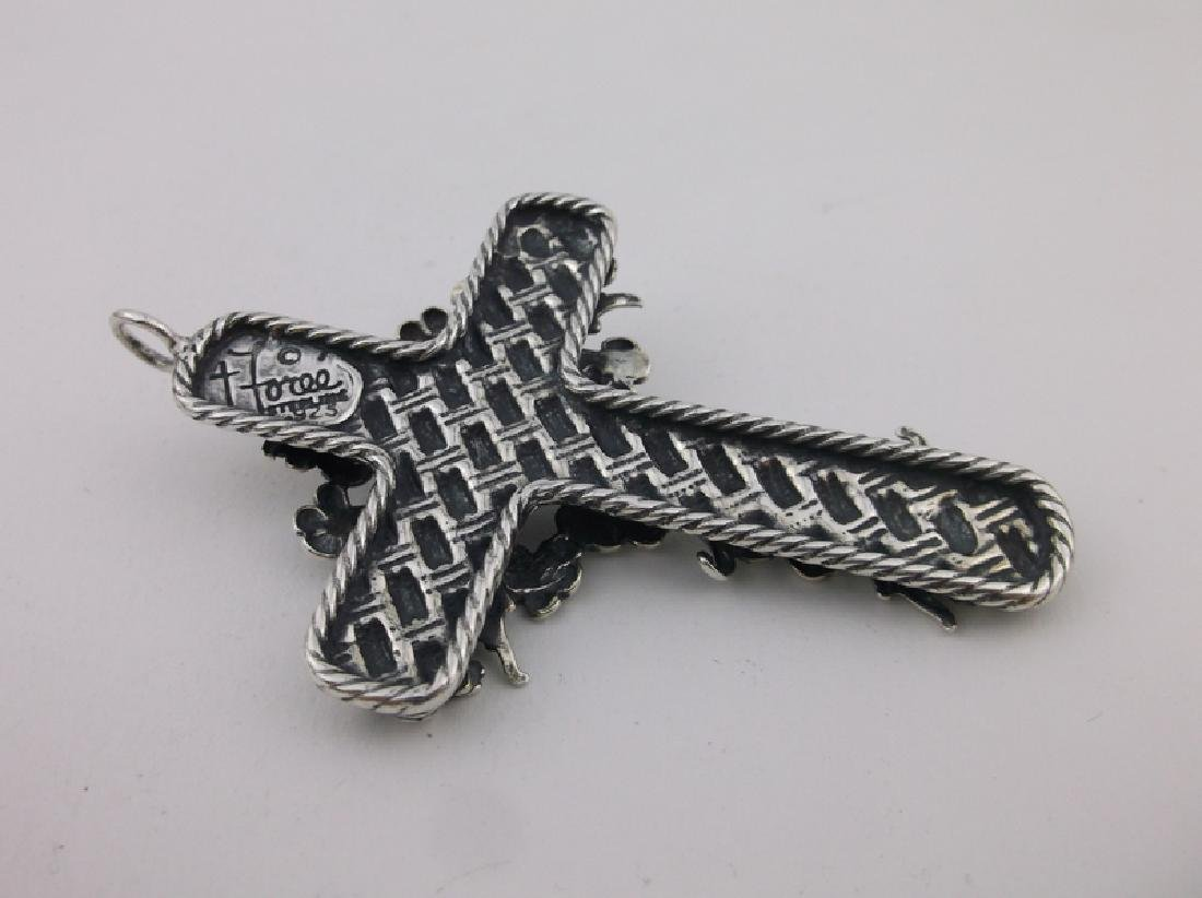 Incredible T Foree Huge Sterling Cross Pendant Antique - 4