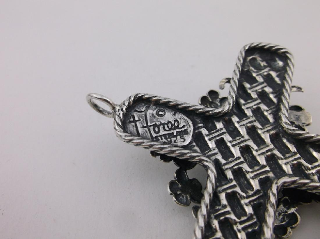 Incredible T Foree Huge Sterling Cross Pendant Antique - 5