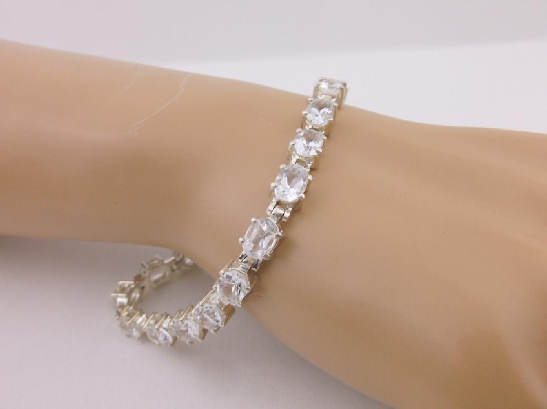 Gorgeous Large Sterling White Stone Bracelet Heavy