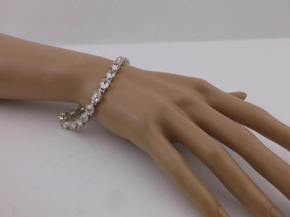 Gorgeous Large Sterling White Stone Bracelet Heavy - 2