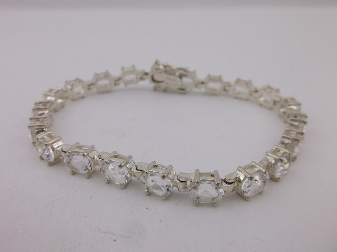 Gorgeous Large Sterling White Stone Bracelet Heavy - 3