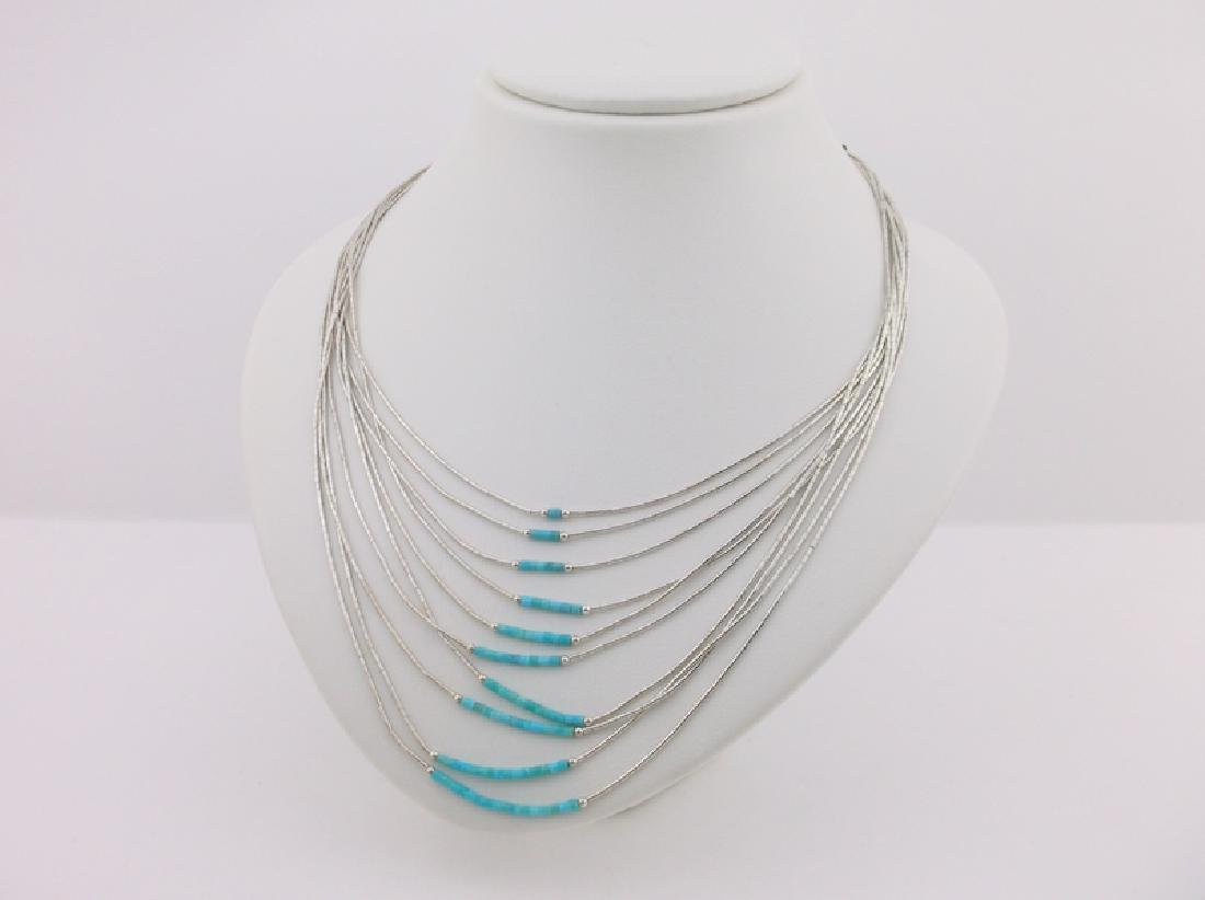 Incredible Navajo Sterling Turquoise 10 Strand Necklace
