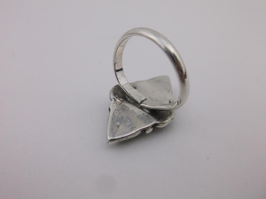 Jimmie Etsate Zuni Sterling Turquoise Ring 5 Gorgeous - 2