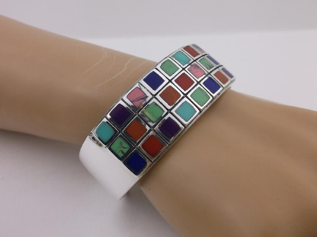 Stunning Sterling Turquoise Gaspeite Cuff Bracelet - 2