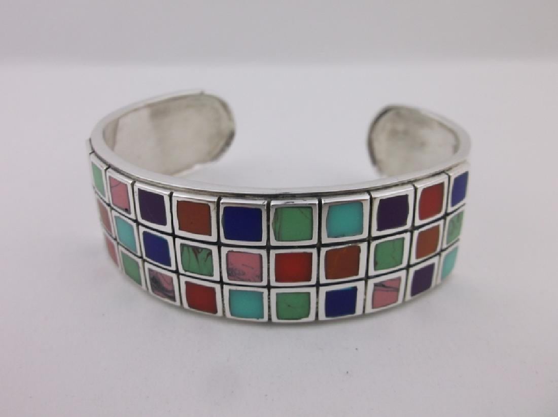 Stunning Sterling Turquoise Gaspeite Cuff Bracelet - 3