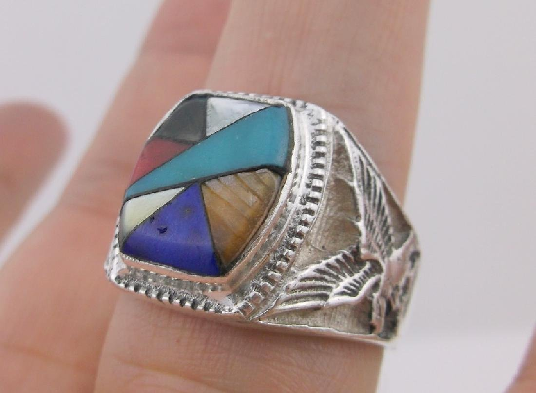 Mens Navajo Sterling Eagle Turquoise Ring 12 Gorgeous