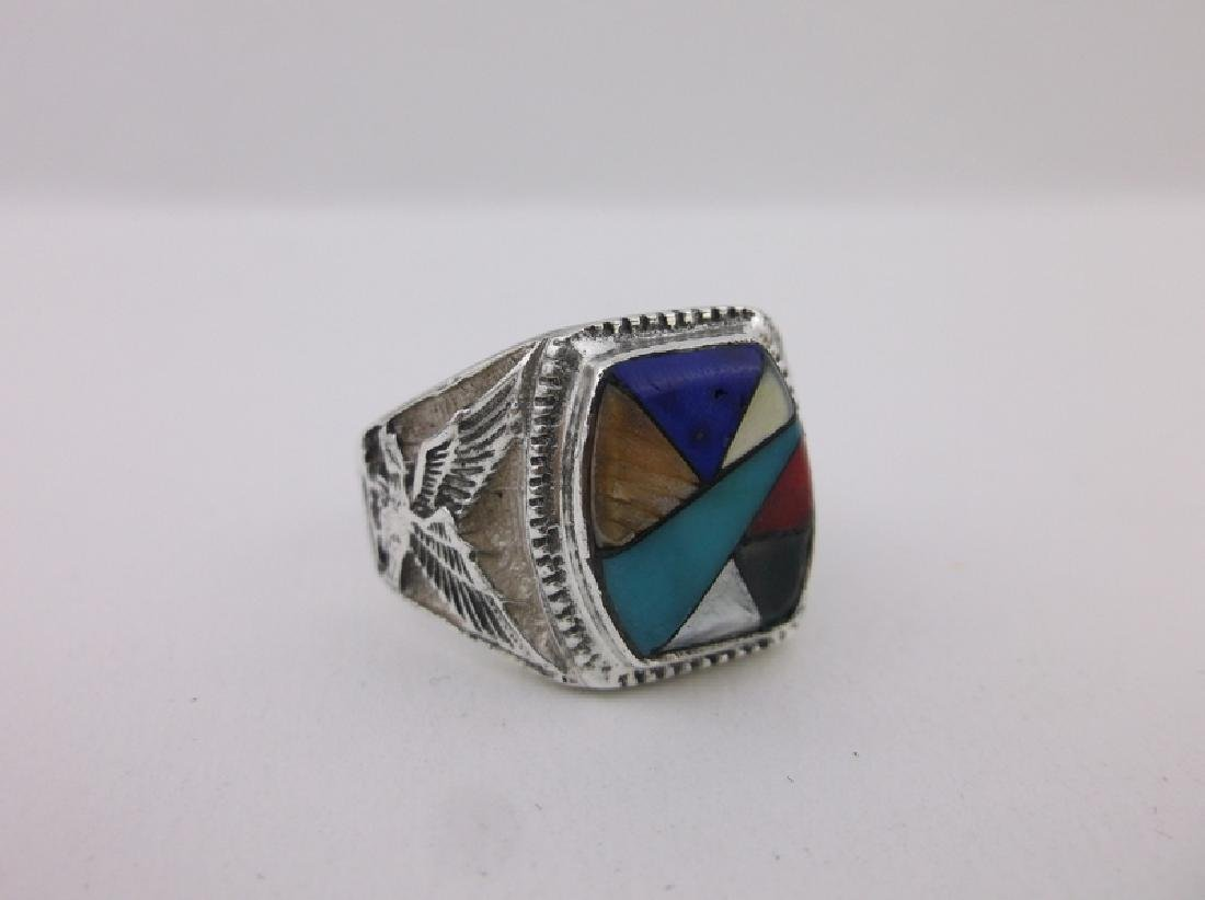 Mens Navajo Sterling Eagle Turquoise Ring 12 Gorgeous - 2