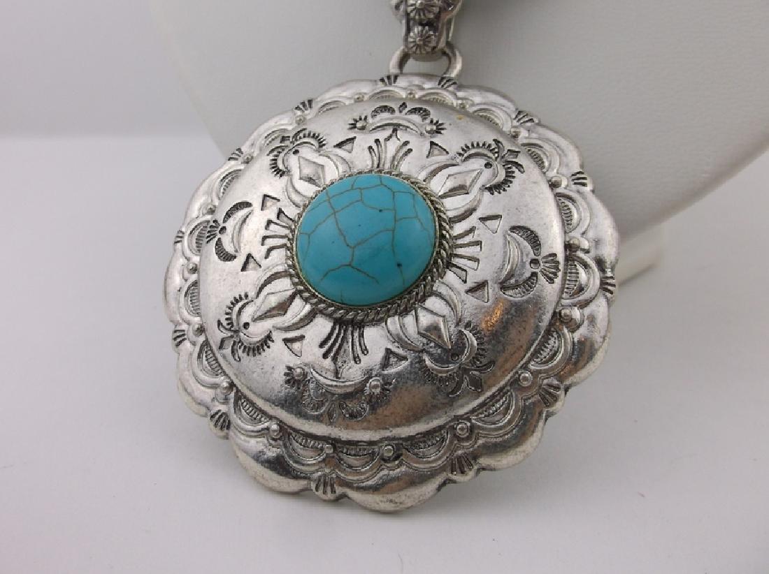 "Southwestern Turquoise Necklace & Earrings Set 36"" - 2"