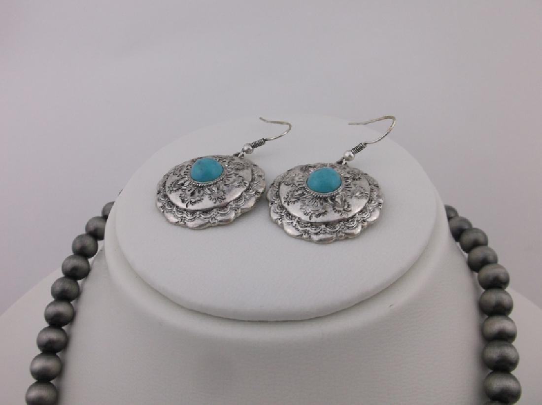 "Southwestern Turquoise Necklace & Earrings Set 36"" - 3"