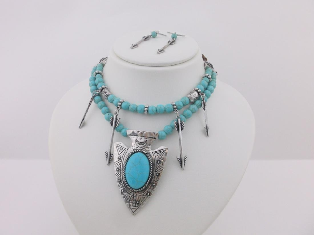 Southwestern Turquoise Arrowhead Necklace Earrings 22""
