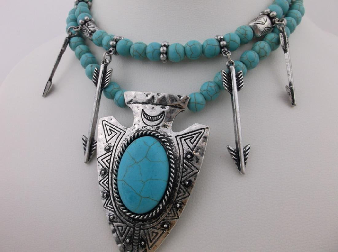 "Southwestern Turquoise Arrowhead Necklace Earrings 22"" - 2"