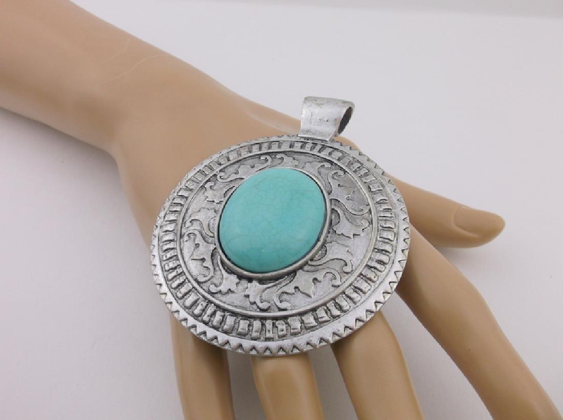 Stunning Huge Southwestern Turquoise Pendant