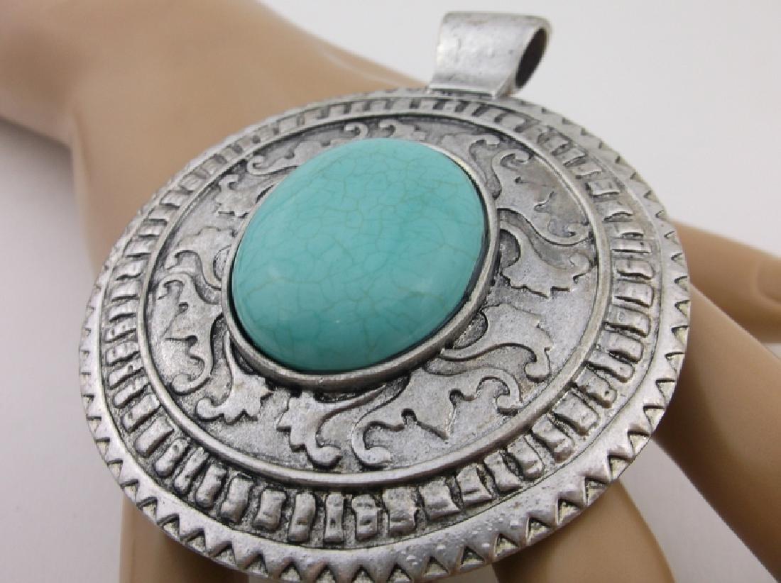 Stunning Huge Southwestern Turquoise Pendant - 2