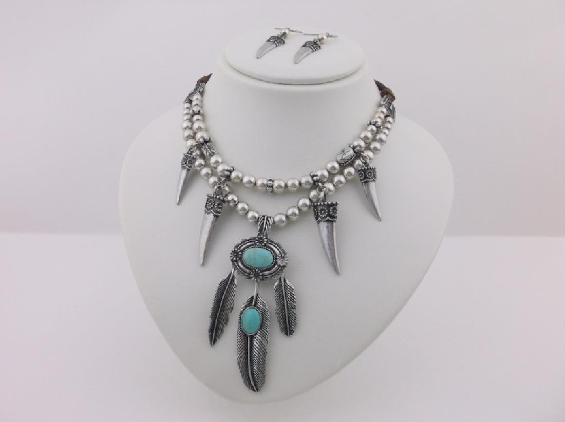 """Southwestern Turquoise Feather Necklace Earrings 22"""""""