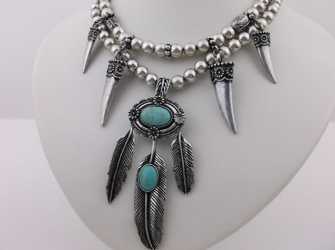"""Southwestern Turquoise Feather Necklace Earrings 22"""" - 2"""