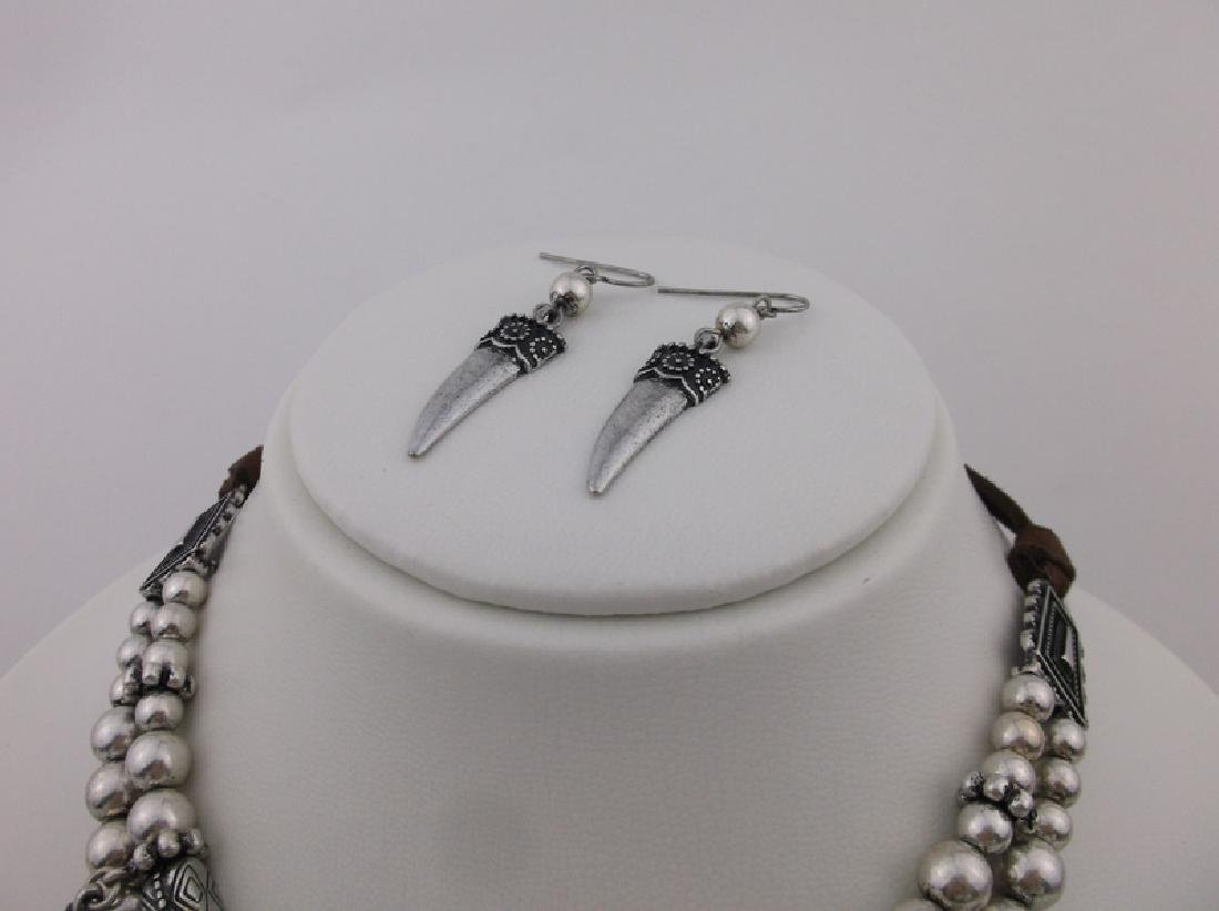 """Southwestern Turquoise Feather Necklace Earrings 22"""" - 3"""