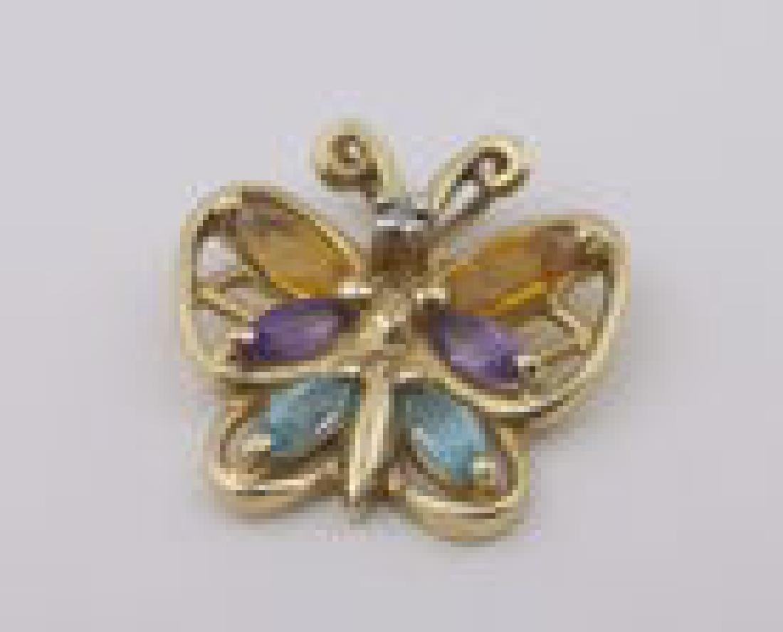 Stunning 10kt Gold Butterfly Gemstone Pendant